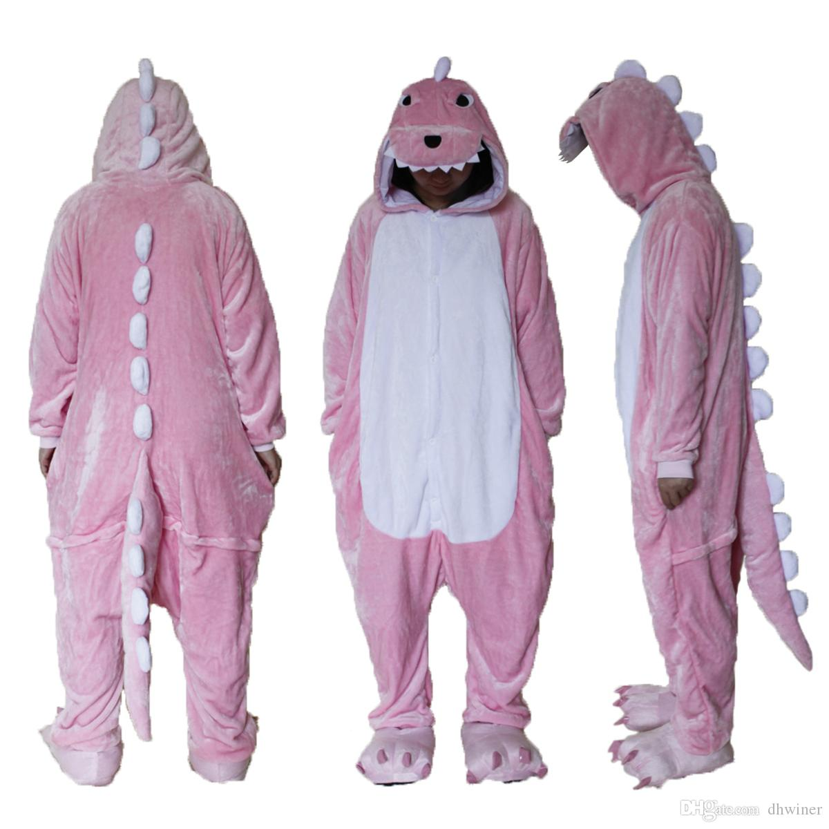 11c2033b1397 One Piece Pajamas Unisex Costume Adult Animal Onesie Pink Dinosaur Cosplay  Funny Costume Themes 4 Person Group Halloween Costumes From Dhwiner