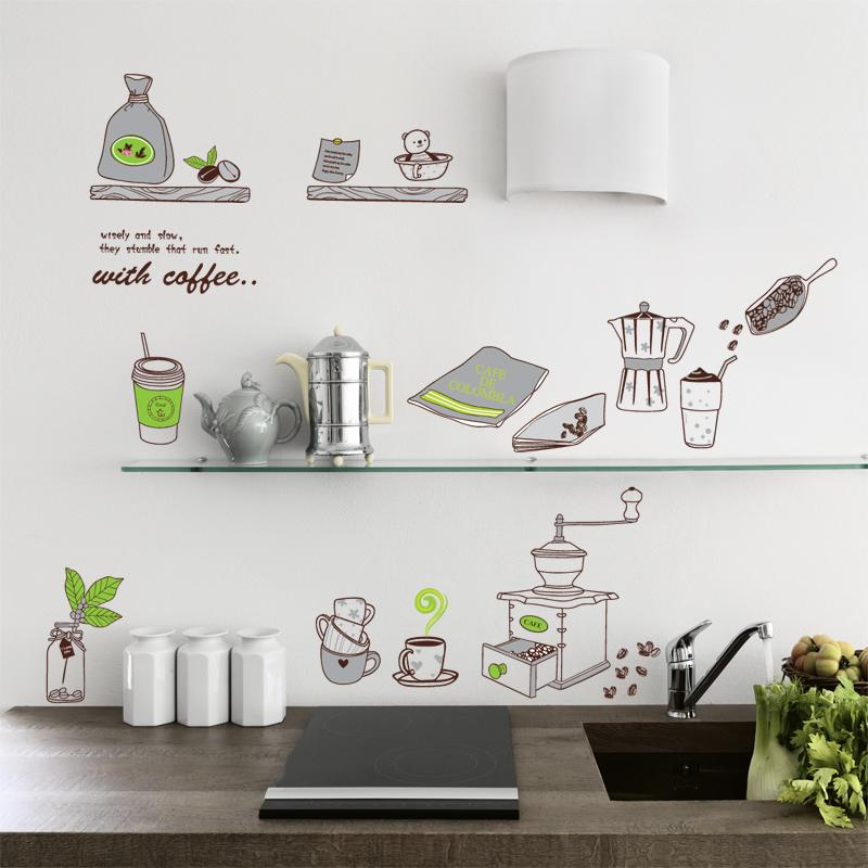 self adhensive coffee cup kitchen accessories wallpaper dinning room
