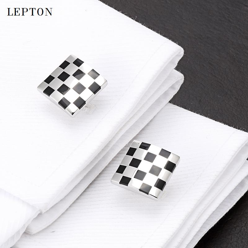 Lepton black business cufflinks for mens fashion square enamel cuff link button high quality luxury wedding groom With Gift Box