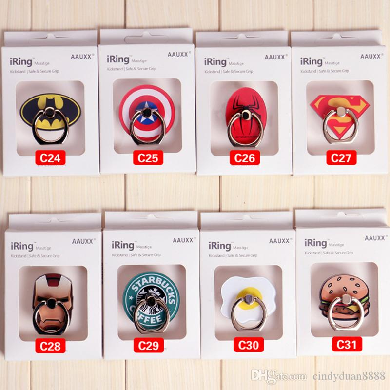 Phone grip Super Hero Cell Phone Holder Universal Metal Smartphone Ring Stand for iphone samsung Tablets holder with retail box