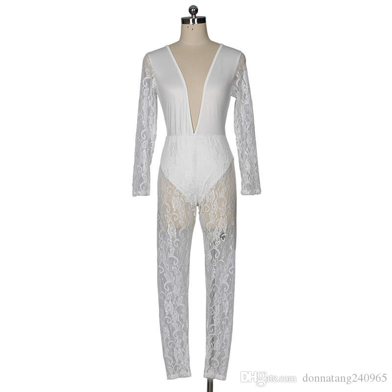 2018 Lace See Through Sexy Women Jumpsuit White Long Sleeve Deep V Nightclub Bodycon Women Jumpsuit Romper