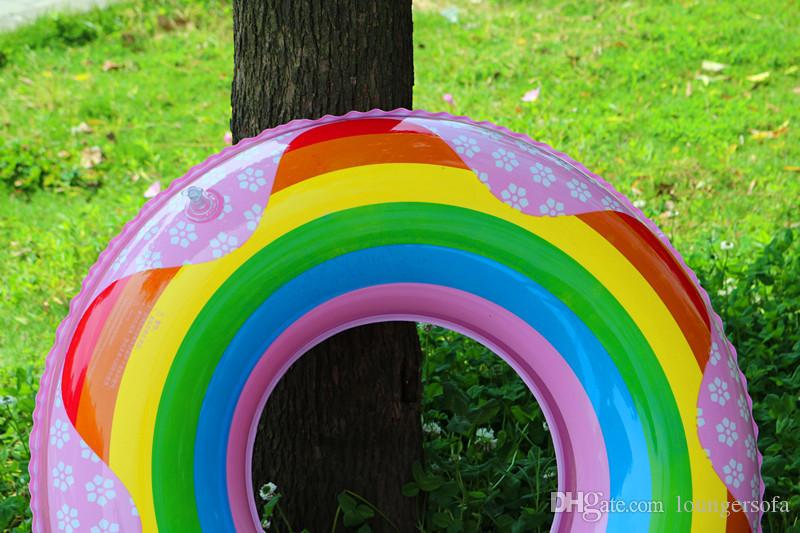 Утолщение Радуга плавательный кольцо для детей взрослых симпатичные надувные трубы творческий бассейн плавающий коврик мульти размер выбрать высокое качество 7 5xr Z