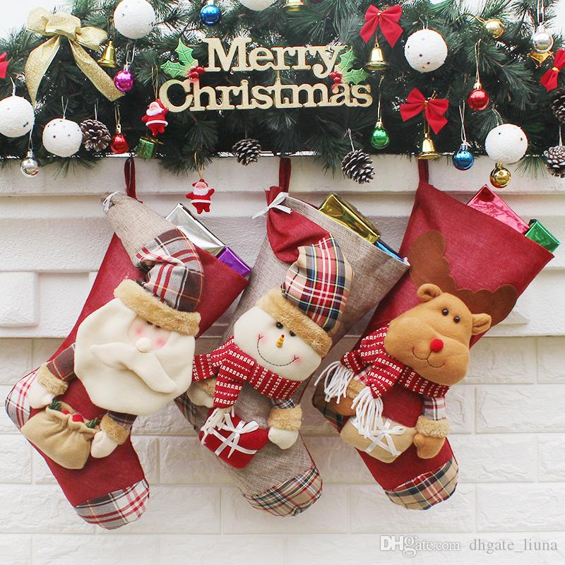Making Christmas Stocking.Christmas Stockings Hand Making Crafts Children Candy Gift Bag Santa Bag Elk The Old Man Snowman Xmas Present For New Year 100pcs