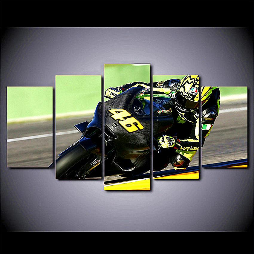 Motorcycle Racing,5 Pieces The Latest Most Popular High-definition Canvas Printed Home Decorative Art/ Unframed / Framed