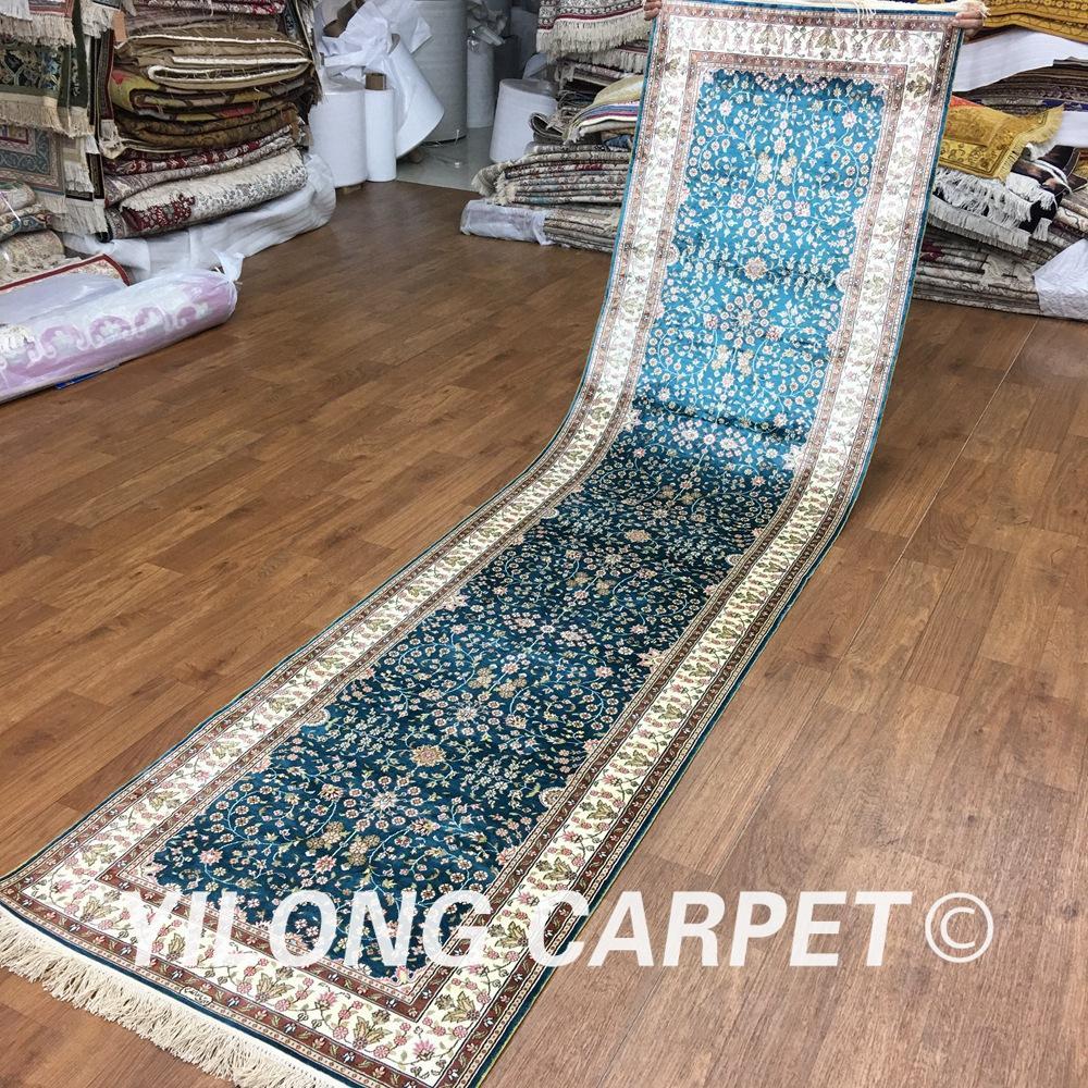 Yilong 2.5'x10' silk oriental rugs runners blue handknotted handmade persian rug runner (H001A2.5x10)