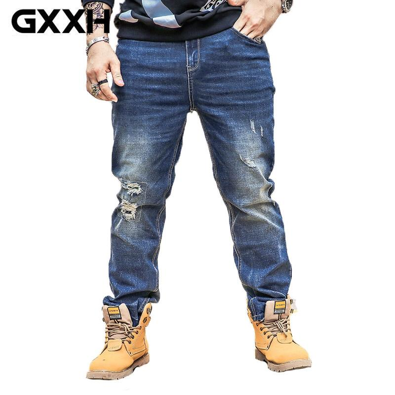 bbe96b98dafff Compre Hombre Gordo Parcheado Agujeros Jeans Rectos Hombres Talla 36 48  Vaquero De Gran Tamaño Diseño Fresco Pantalones Vaqueros Lavados Azul  Oscuro ...