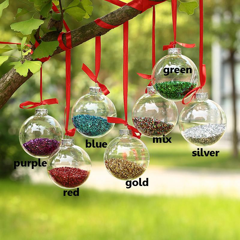 Dia6cm Clear Glass balls Christmas Ornaments decoration with glitter decor Glass Pendants Event Wedding Party Balls x 10