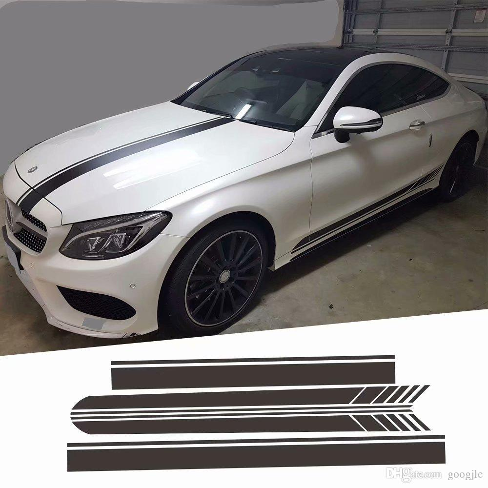 Pour Mercedes Autocollant Ligne De Course Capot De Voiture Queue De Toit Corps Decoratif Decalque Cote Jupe Autocollants Fit Pour Benz Classe A
