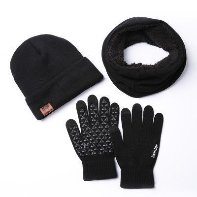 8dd76d06f6d Warm Set Winter Hats Scarf Gloves For Women Men Thick Cotton Winter ...