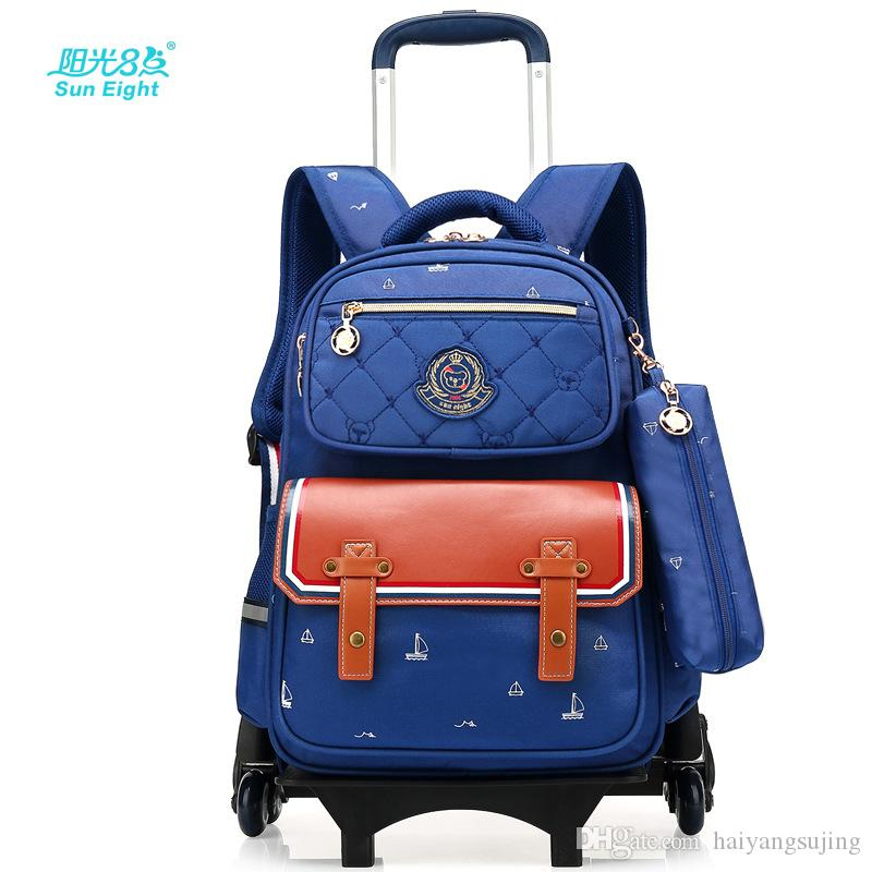 9f9fa7325220 Children School Bags With 6 Wheels Removable Kids Trolley Schoolbag Boys  Girls Rolling Backpack Wheeled Child Bookbag Travel Luggage Designer  Handbags ...