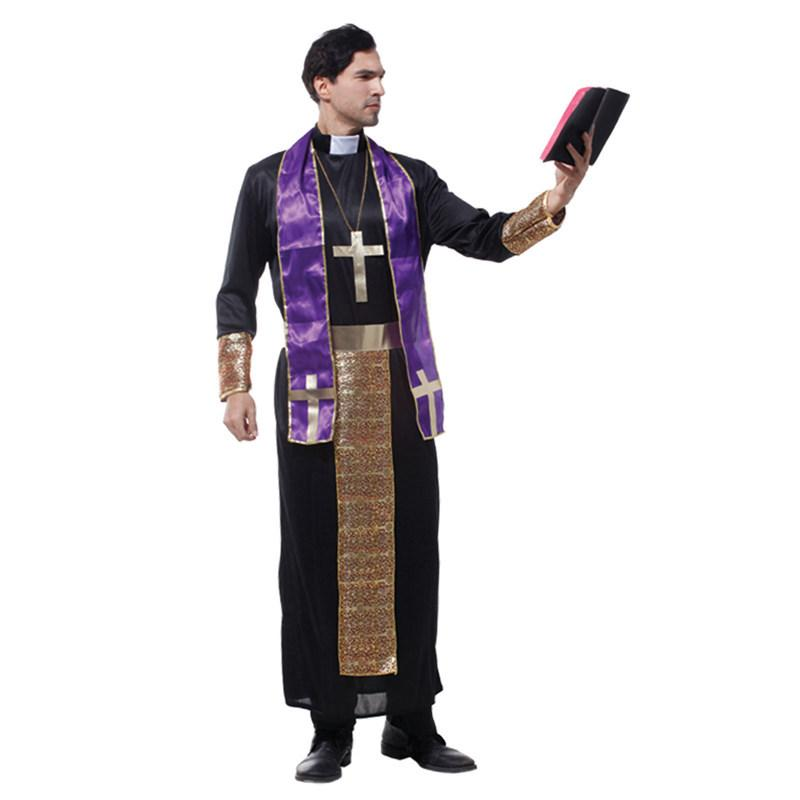 alloween costume wonder woman Umorden Halloween Costume for Men Christian European Religious Missionaries Pastor Priest Costumes Adult Fa...