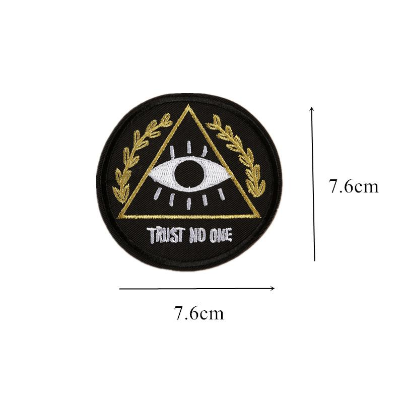 Trust No One Embroidery Patches Sew Iron On Badge Eye For Bag Jeans Hat Appliques DIY Sticker Decoration Apparel Accessories