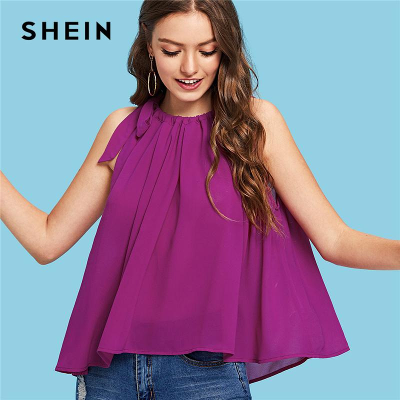 04690a745b0f2d 2019 SHEIN Tie Neck Sleeveless Tank Top Purple Solid Knot Ruched Halter Top  Women Summer Plain Flared Casual Vest From Tielian
