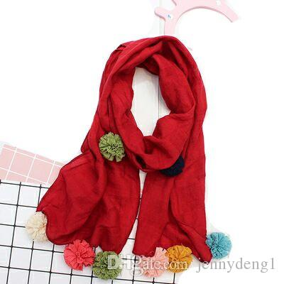 Spring autumn acrylic kid scarf comfortable winter warm pom pom scarves for wholesale