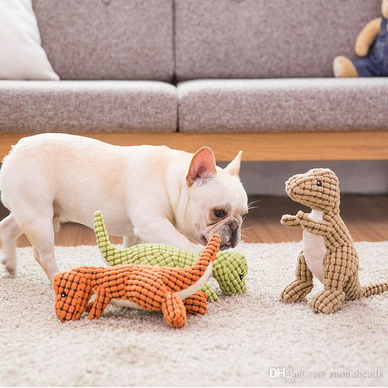 Dog Chewing Toys Corn Kernels Material Durable Noise Maker Squeakers Toy for Large Dog Dinosaur Shape Tooth Cleaning Toys