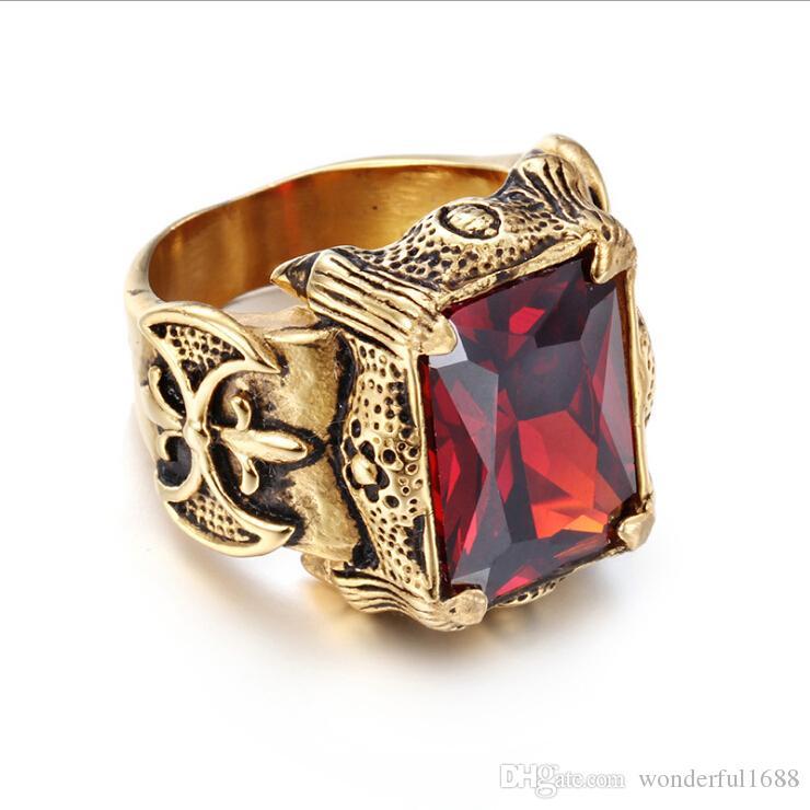 31a70be486ba Новый мужской красный драгоценный камень кольцо ювелирные изделия 18 К  золото старинные панк готический золото Рубин человек 316L титана стали  стекло ...