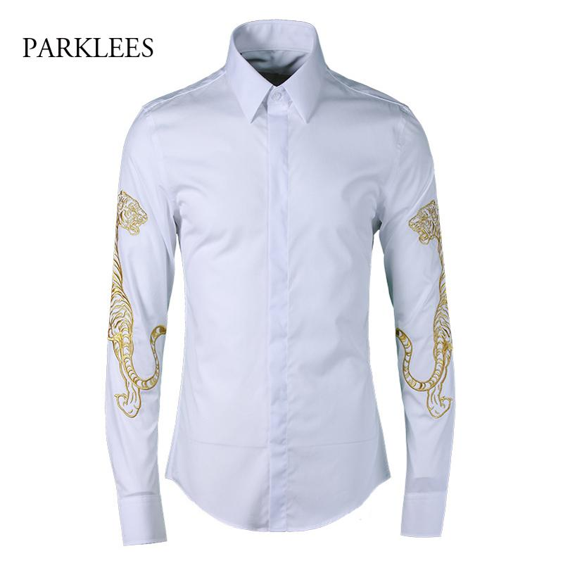 9536114df 2019 Tiger Embroidery Shirt Men 2017 Luxury Brand Design Mens Dress Shirts  Long Sleeve Chemise Homme Casual Slim Fit White Men Shirt From Bailanh, ...