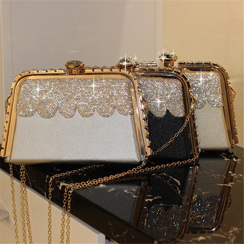 610c490c7d Compre Mulheres Bolsas De Cristal Embreagem De Luxo Bolsa De Noite De Couro  Genuíno De Ouro Da Noiva Do Casamento Da Cadeia Bolsa Senhoras Crossbody  Sacos ...