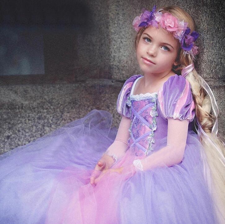 New Summer Baby Girls Princess Dress Bambini manica corta in pizzo Tulle Tutu Party Dress Bambini Ball Gown Bubble Abiti W132