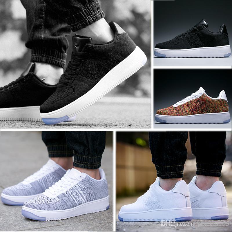 sports shoes 231aa 56dbe Compre Nike Air Force 1 Flyknit Af1 Sports Shoes Caliente Al Por Mayor 1  Alta Especial Campo De Trigo Negro Blanco Zapatos Hombres Mujeres Para  Hombre ...