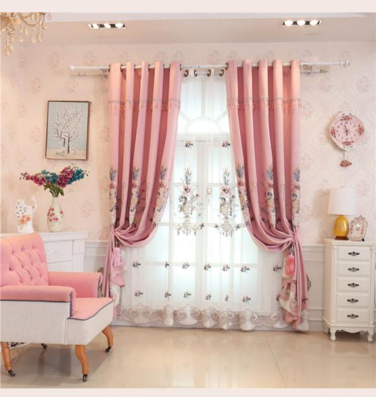 European Luxury Pink Embroidery Thick Blackout Window Screen Luxury ...