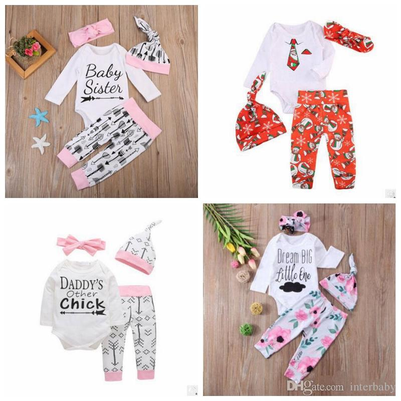 dce66bf0f09 2019 INS Baby Clothes Set Letter Print Christmas Outfits Love Pink Kids  Clothing Suit Kids Designer Raglan Romper Sets Set For Baby YL404 From  Interbaby