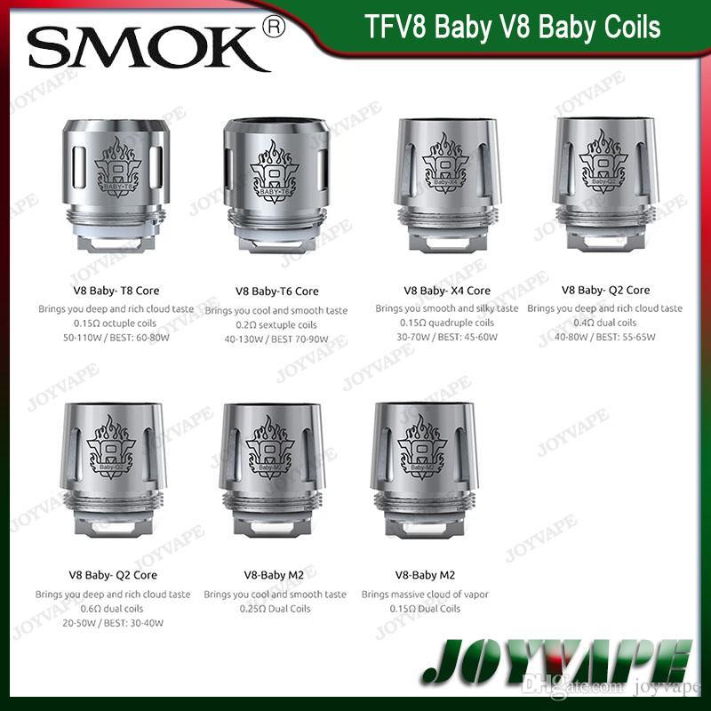 Auténtico SMOK TFV8 Baby / Big Baby Coils Heads V8 Baby Coils V8 Baby-Q2 M2 X4 V8 Baby-T6 T8 núcleos 100% Original