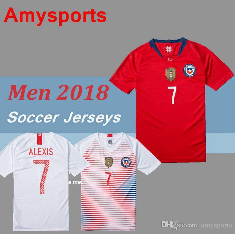 authentic chile blank home soccer country jersey 98a2e 69820  denmark 2018  men chile soccer jersey home alexis valdivia vidal h.suazo medel 18 19 9398099fb