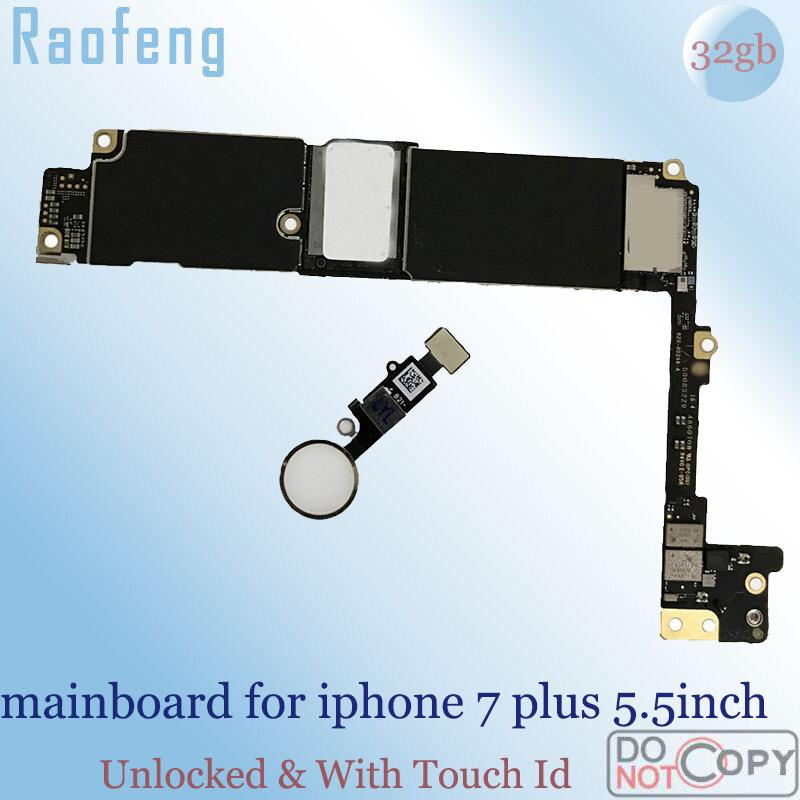 new product dd8bd 9e09d Raofeng With Touch ID Unlocked Motherboard For 7 plus 5.5inch mainboard  with ios work 32gb Chips logic board