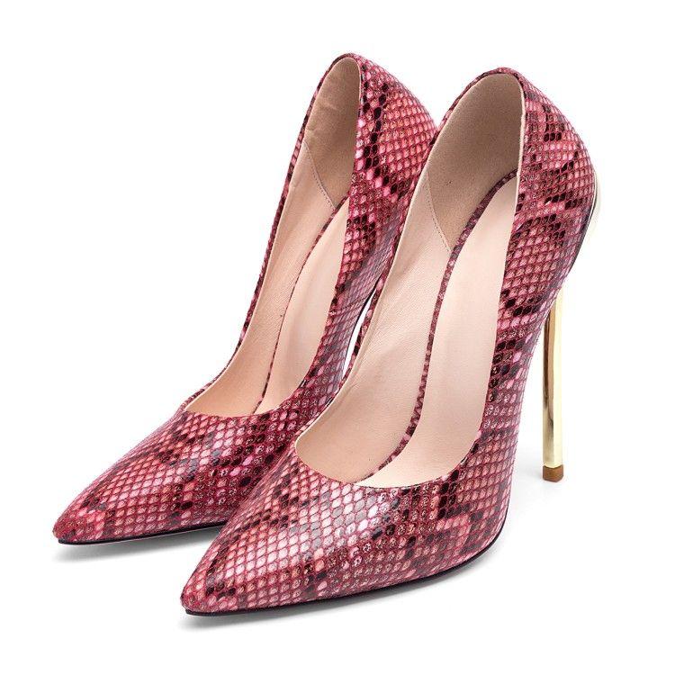 Compre Bombas De Tacón Alto De La Serpiente De American European Bombas De Tacón  Alto Zapatos De Tacón De Metal De Primavera Zapatos De Mujer Sexy De Moda  ... 41ce3a94614a