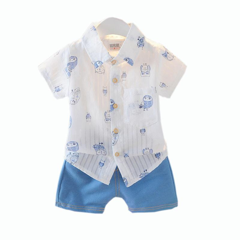 5b53421a01e 2019 Little Boys Summer Outfits Stripe Owl Print Short Sleeve Shirts + Blue  Shorts Gentleman Clothes Suit From Lovefashiononline