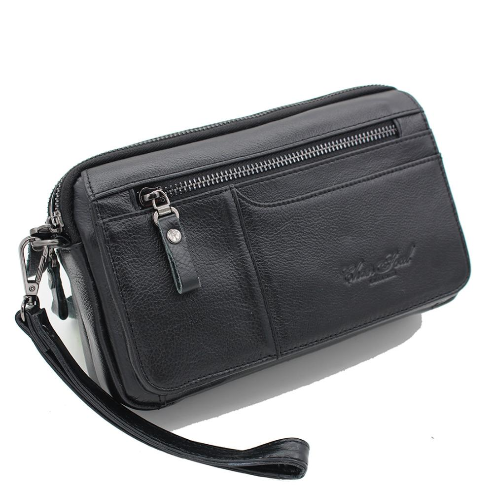 6dbb5699c 100% Genuine Leather Cowhide Men Clutch Bag Male Wrist Handbag Double  Zippers Purse Wallet Cell Phone Cash Card Holder Wallets Purple Wallet  Roots Wallets ...
