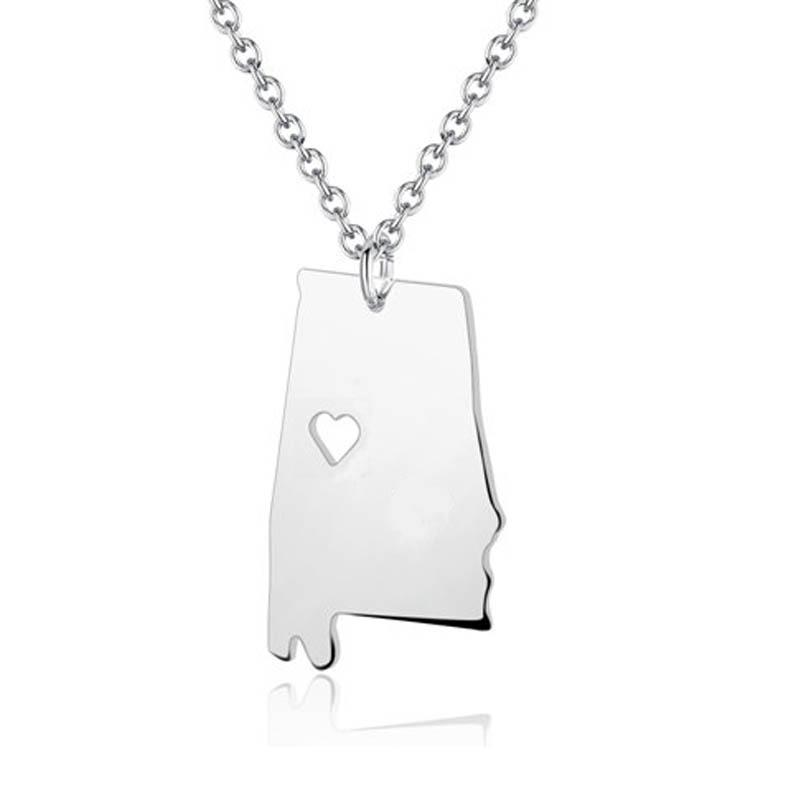 Wholesale us state alabama map charm necklace state shaped i heart wholesale us state alabama map charm necklace state shaped i heart alabama necklace home charm necklace stainless steel aquamarine pendant necklace heart aloadofball Gallery