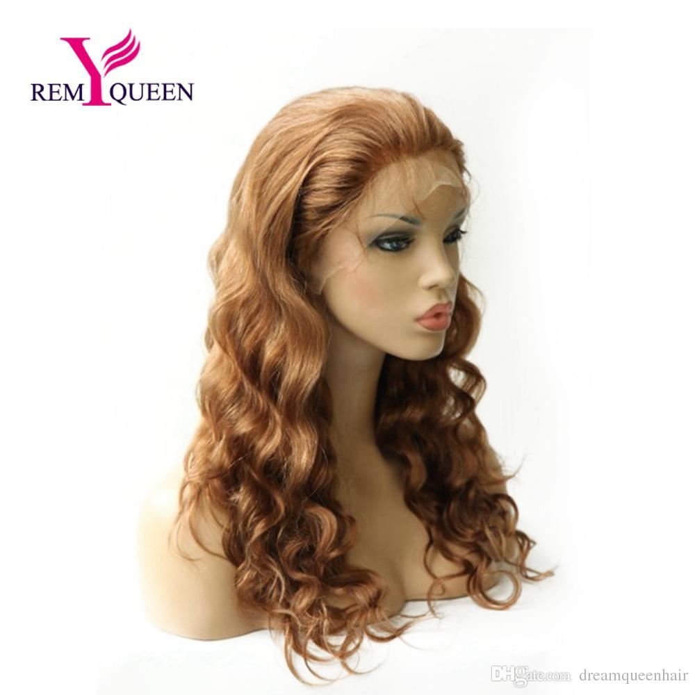 Реми Королева #30 светло-каштановые тела волны кружева парик фронта с стрейч кружева обратно швейцарские кружева 100% человеческих волос 130% средней плотности фабрики розетки