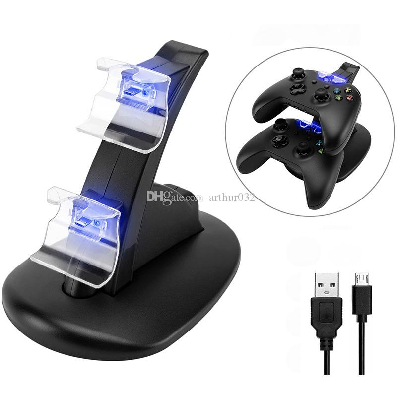 DUAL LED لعبة تحكم USB شاحن قفص الاتهام قفص الاتهام مهد محطة جبل الشحن حامل لللاسلكية سوني بلاي ستيشن Xbox PS 4 PS4 Gamepad
