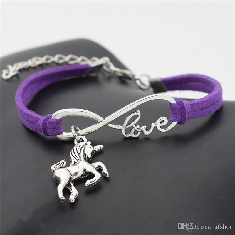 AFSHOR New Vintage Niedlichen Tiere Antike Silber Lucky Horse Unicorn Charms Unendlichkeit Liebe Leder Armband Armreifen für Frauen Geschenke Zubehör