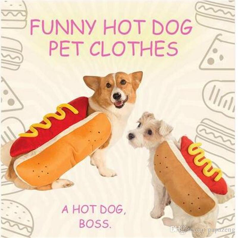 Großhandel Kostenloser Versand Hot Dog Pet Dog Kostüm Senf Katze ...