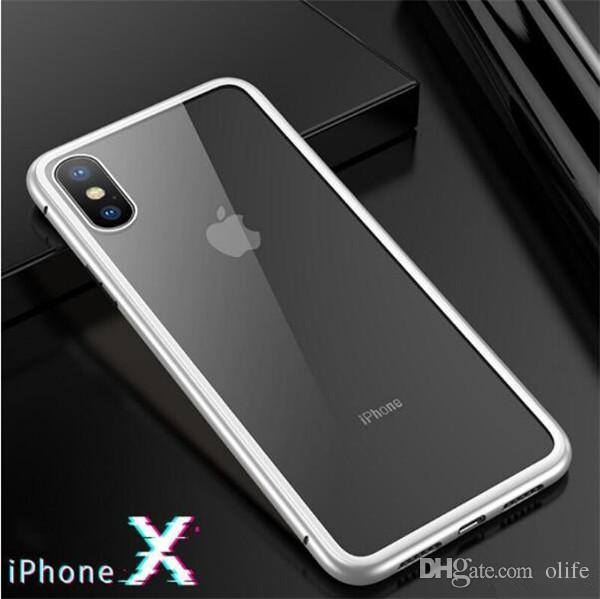 New Magnet Absorption Aluminum Alloy Metal Frame Magneto Phone Cases Anti-Scratch Tempered Glass Back Cover For IPhone X 7 8 Plus
