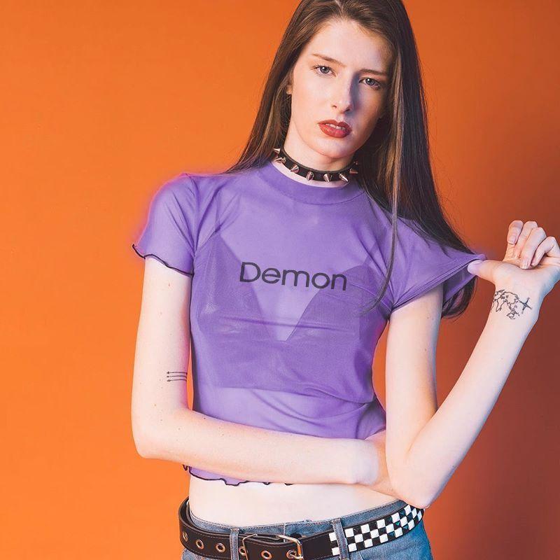1b2eade6af71 Woman Sexy Letter Printed Transparent Tops T Shirt Women 2018 Summer Tops  Purple Round Neck Short Sleeve Mesh T Shirt 1 T Shirt T Shirt And Shirt  From ...