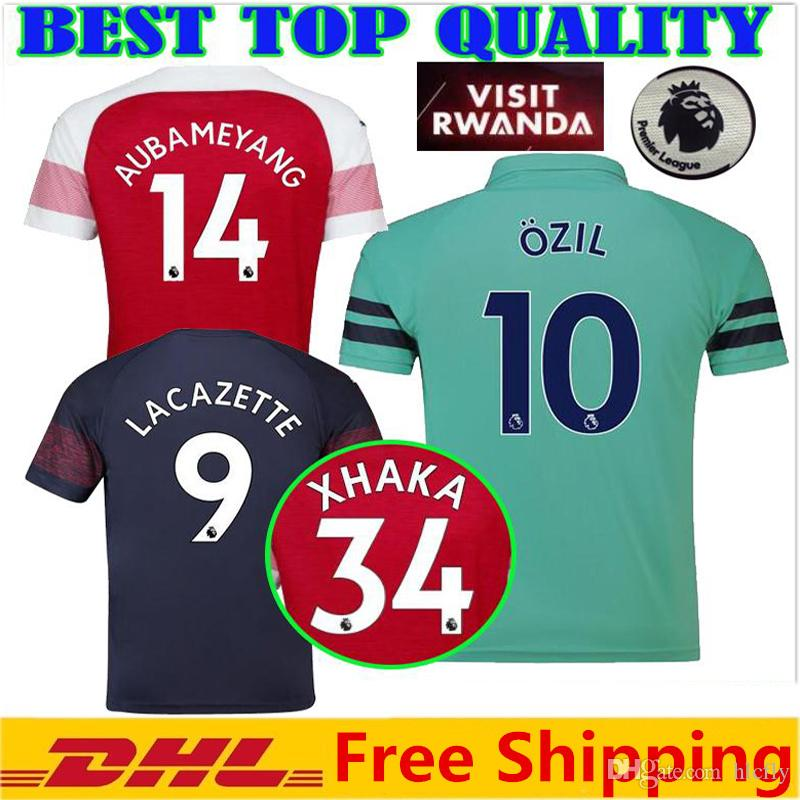 competitive price afb3b 9a503 2019 arsenal soccer jersey home 10 ozil lacazette 18 19 AUBAMEYANG RAMSEY  MKHITARYAN XHAKA away third 3rd jerseys football shirts