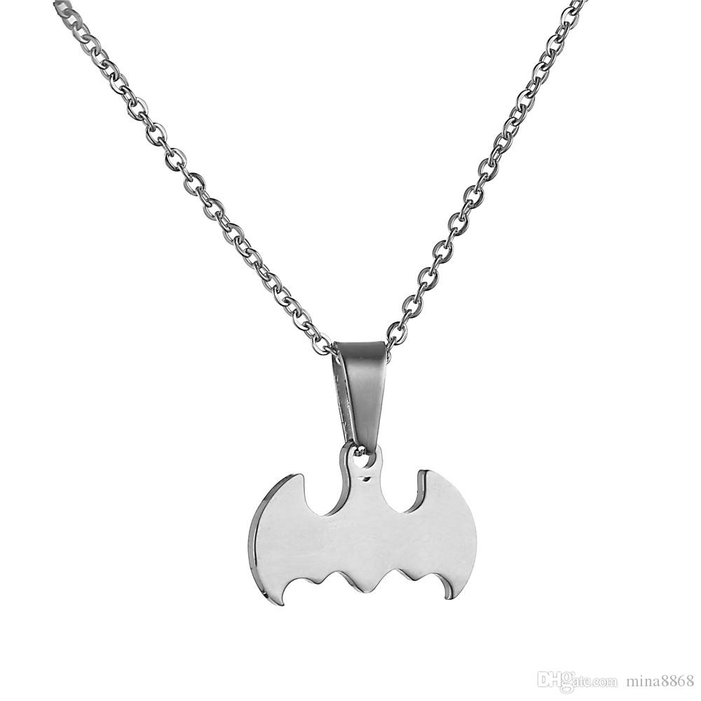 Personalized Small Bat Choker Necklace Handmade stainless steel Batman Pendant Necklaces for Women men Cute Animal Fashion Jewelry