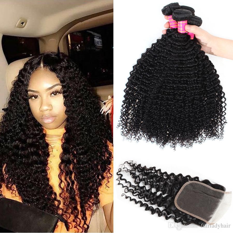 88600f2e2 2019 3 Bundles With Lace Closure Curly Brazilian Virgin Hair Bundles .