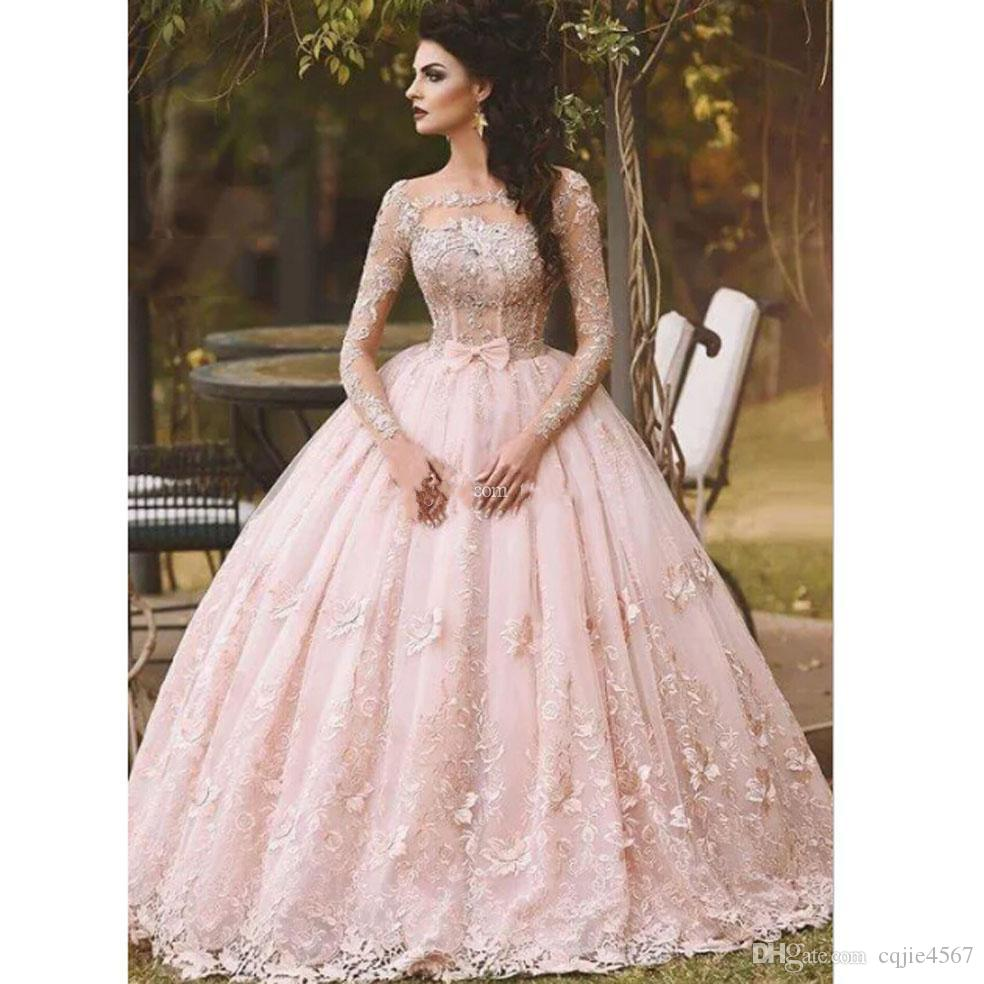 Pink Long Sleeve Prom Dresses Ball Gown Lace Appliqued Bow Sheer Neck Vintage Sweet 16 Girls Debutantes Quinceanera Dress Evening Gowns AW42