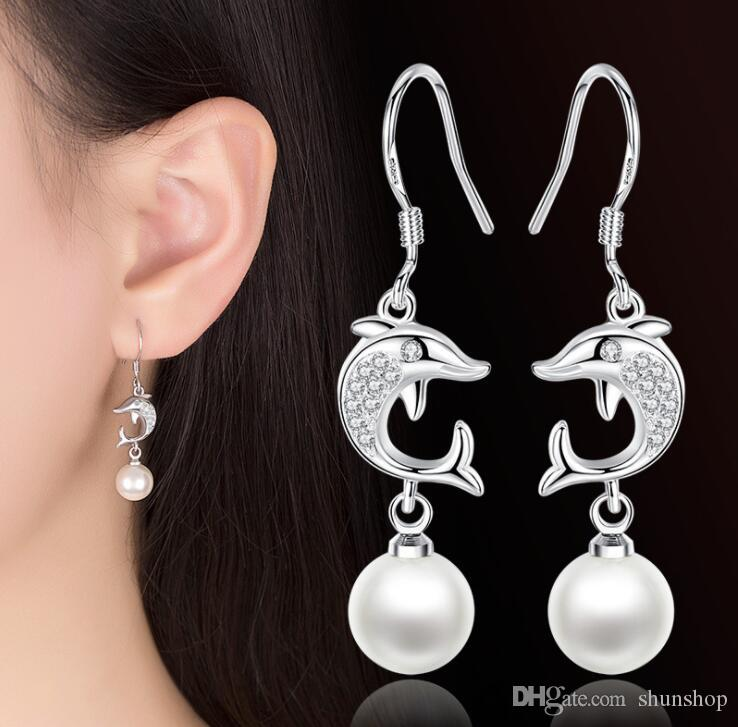 a259f4fa5 2019 Cute Dolphin With Pearl Dangle Earrings Women Animal Tassel Hook  Earring Party Gift Sterling Silver Plated From Shunshop, $1.66 | DHgate.Com