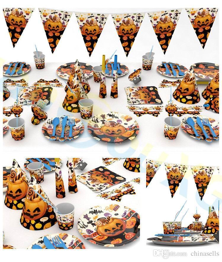 Acquista Halloween Festa Della Decorazione Festival Festa Casa Puntelli  Creativi Forniture Zucca Tavolo Fantasma Decorazioni Set Di Posate Usa E  Getta A