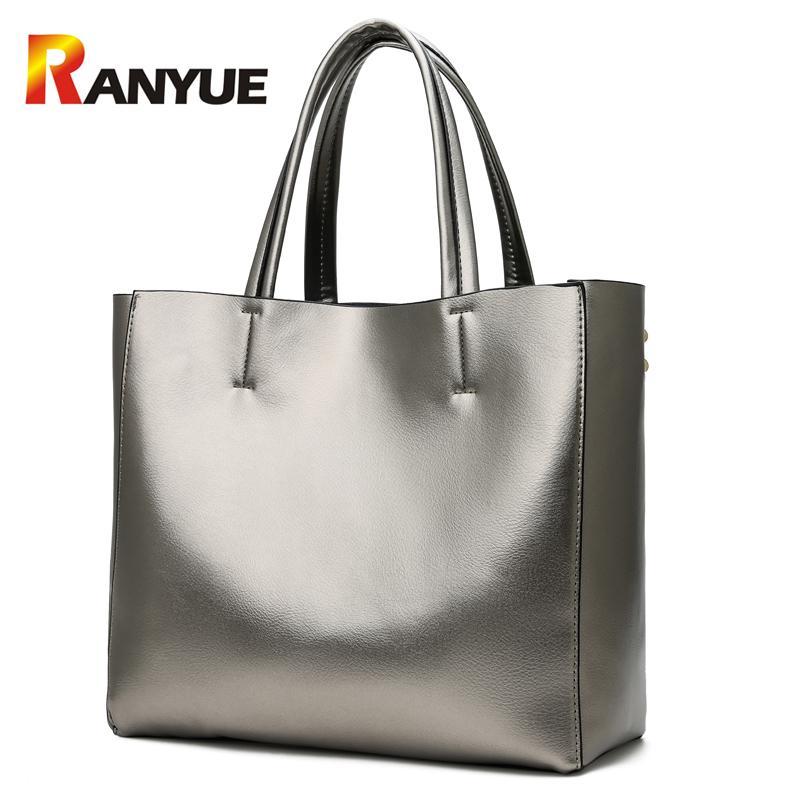 52e77e3a87c6 RANYUE Soft Pu Leather Women Handbags 2018 Sliver Gold Large Capacity Casual  Tote Bag Female Big Shoulder Bag Bolsa Feminina New Fashion Bags Designer  ...