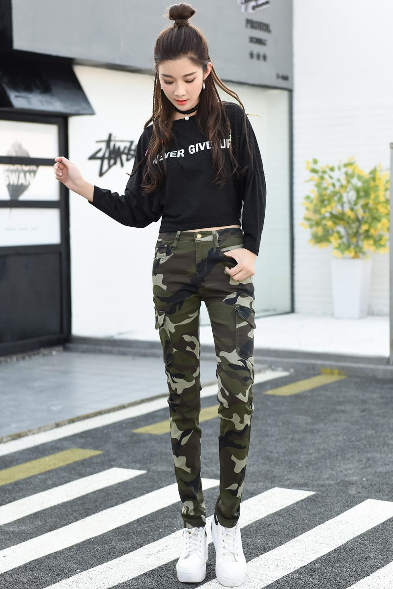 2017 Autumn Women Pencil Trousers Camouflage Army Green Slim Bodycon Girl Pants Leggings Femme Joggers Pantalones Mujer 26~34