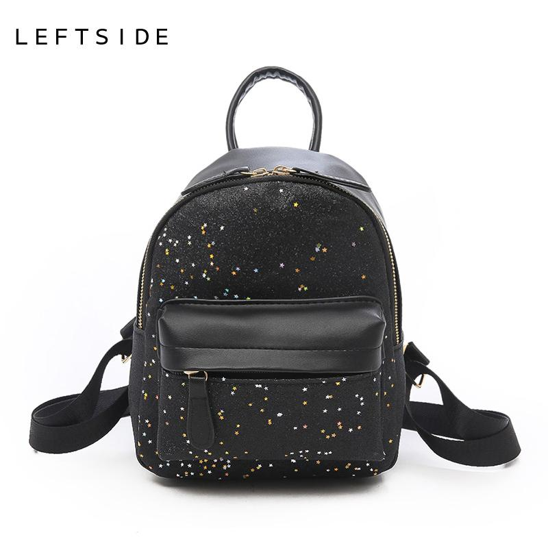 1146715dfd 2019 LEFTSIDE 2018 Women Mini Cute Shiny Backpack Female Small Leather Kids  Back Pack Backpacks For Teenagers Girls School Bags Cheap Backpacks Rolling  ...