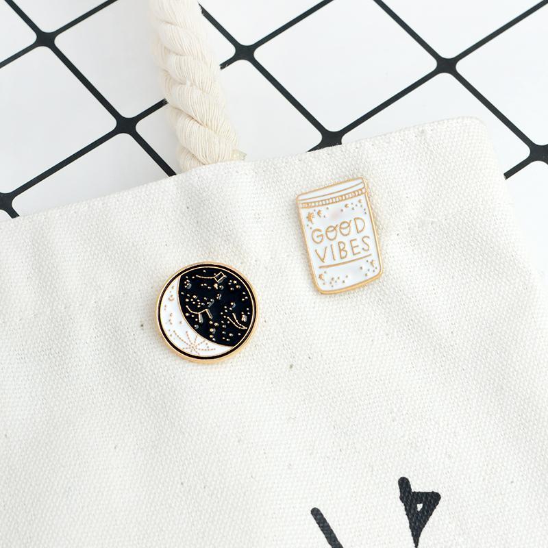 GOOD VIBES constellation Space Universe Warfare Brooch Denim Jacket Pin Buckle Shirt Badge Gift for Kids Friend