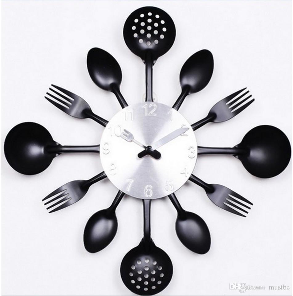Promotion Digital Wall Clock Fork Spoon Kitchen The Decor Modern Quartz Metal Mute Sale Rushed Special Offer